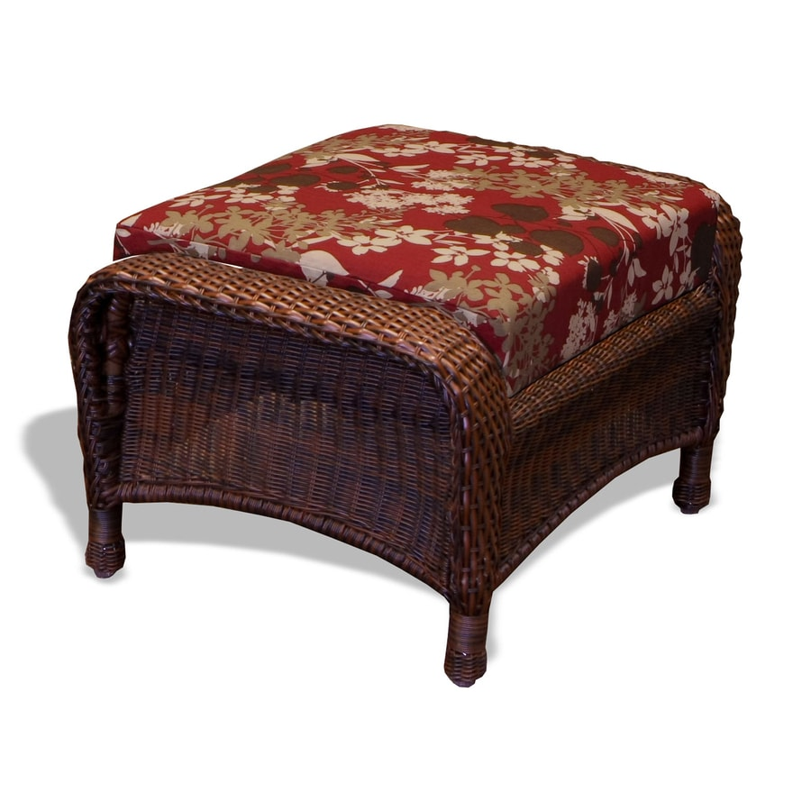 Tortuga Outdoor Lexington Java/Montfleuri Sangria Wicker Ottoman