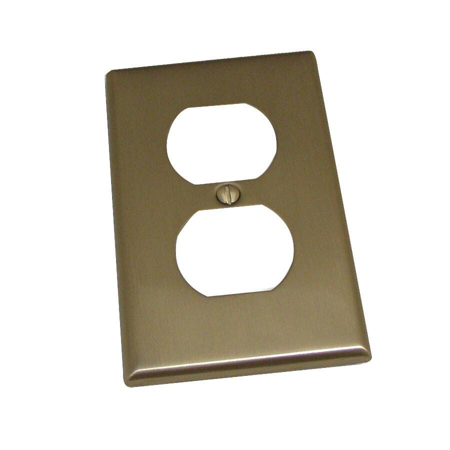 Residential Essentials 1-Gang Satin Nickel Standard Duplex Receptacle Steel Wall Plate