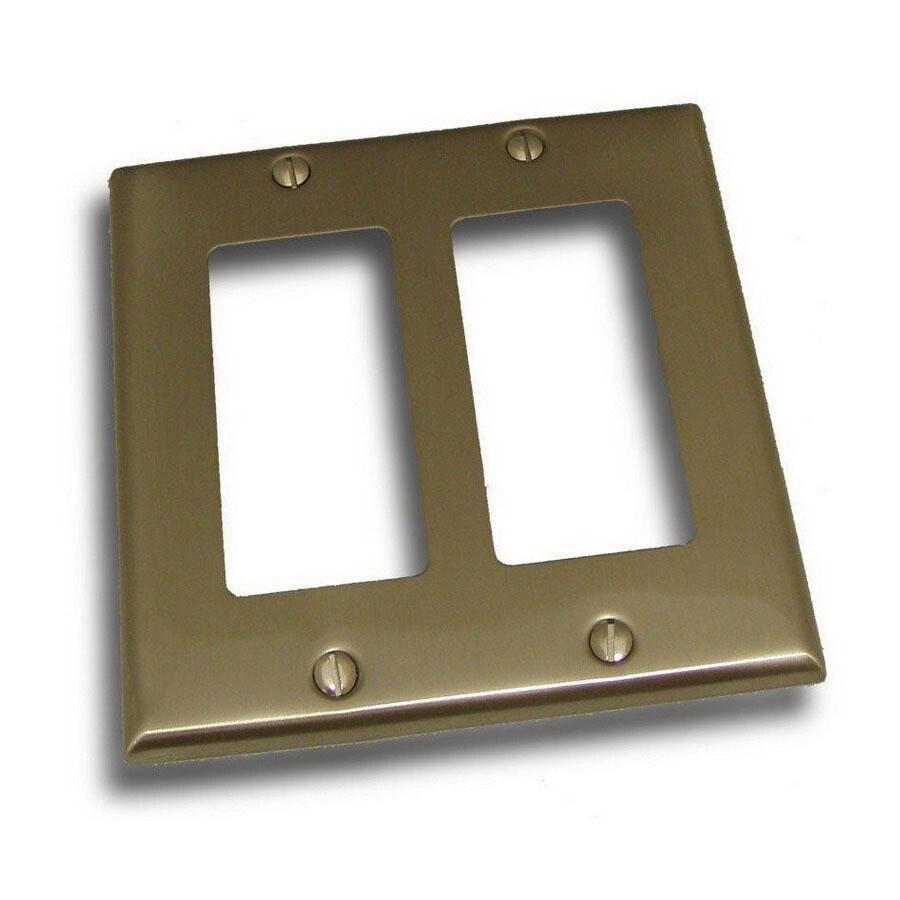 Residential Essentials 2-Gang Satin Nickel Decorator Rocker Steel Wall Plate