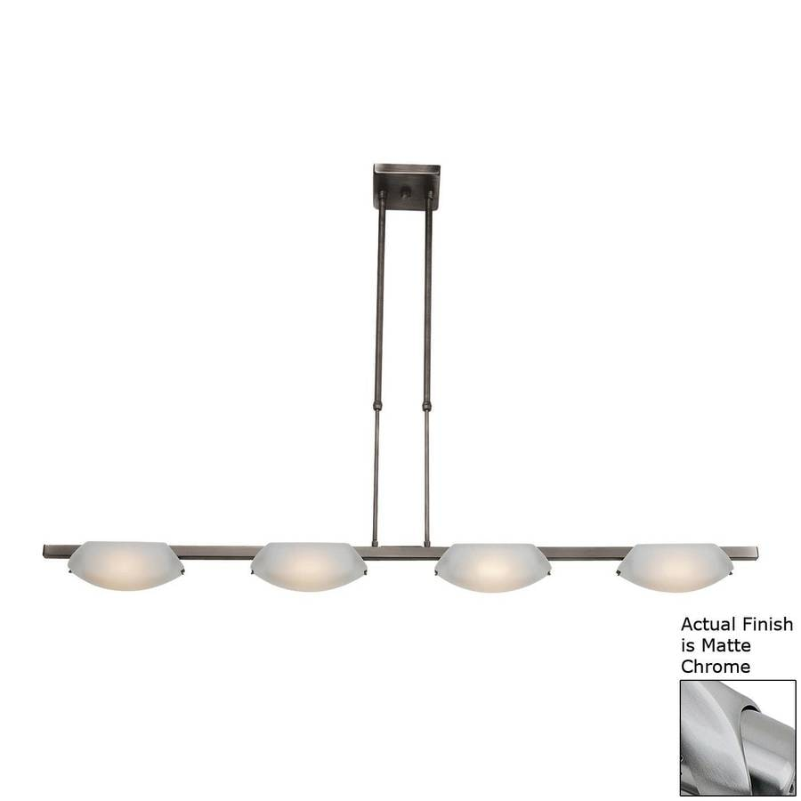 Access Lighting Nido 5-in W 4-Light Matte Chrome Standard Kitchen Island Light with Frosted Shade