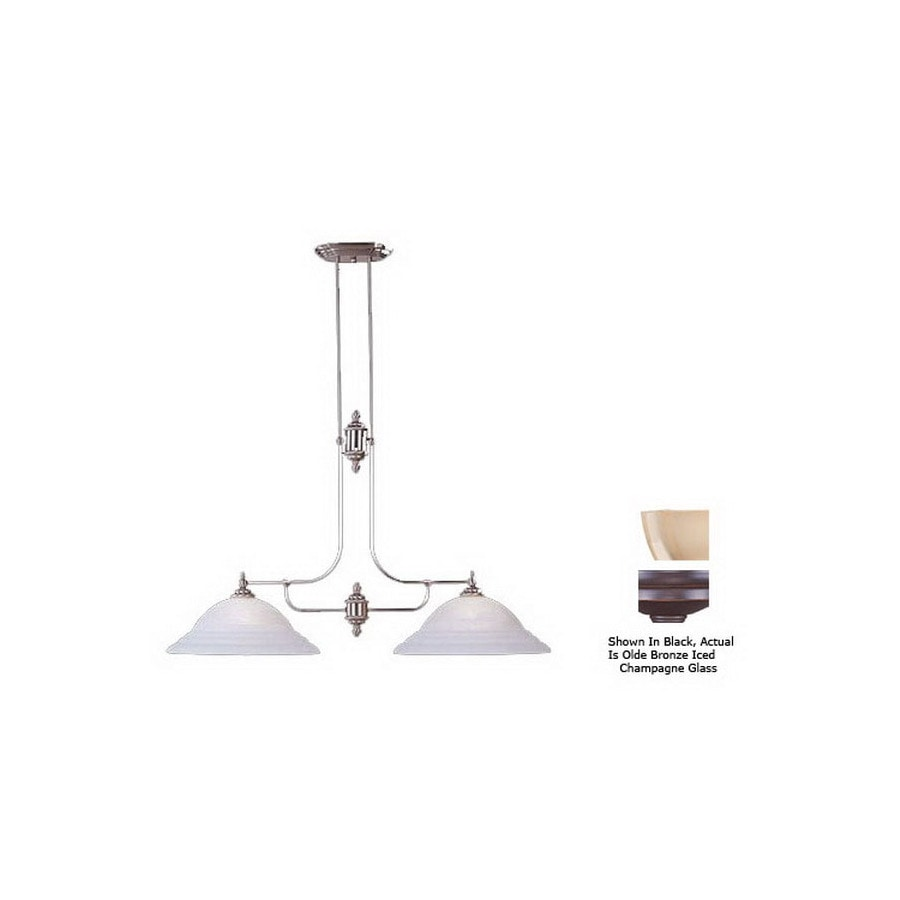 Livex Lighting North Port 16-in W 2-Light Olde Bronze Kitchen Island Light with Shade