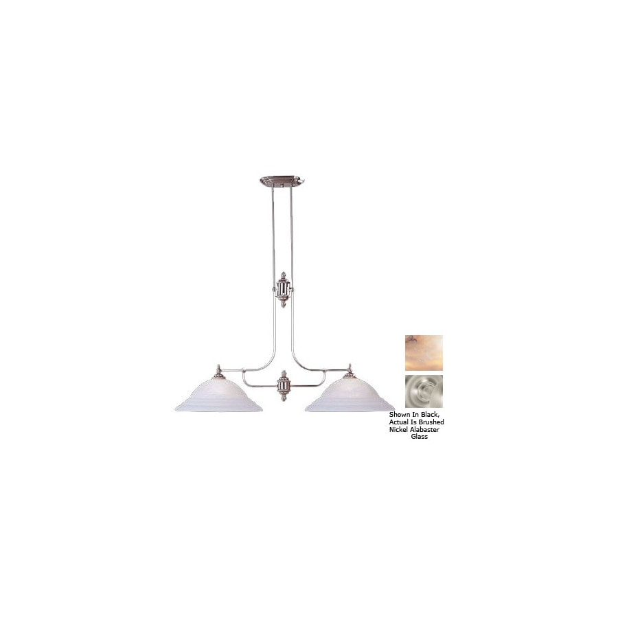 Livex Lighting North Port 16-in W 2-Light Brushed Nickel Kitchen Island Light with Shade