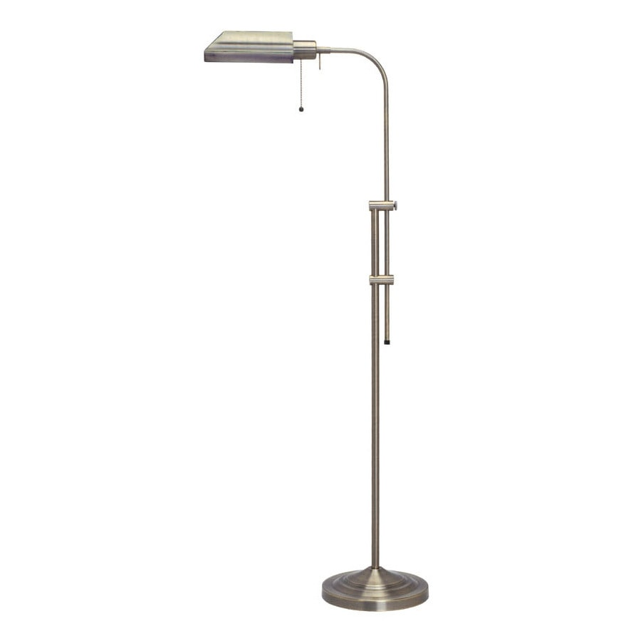 Shop cal lighting 42 in antique brass downbridge floor for Vintage floor lamp with metal shade