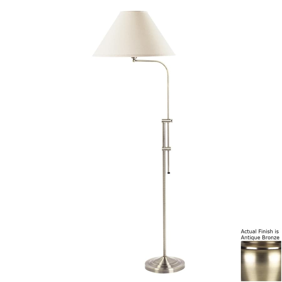 Shop cal lighting 675 in antique brass 3 way downbridge floor lamp cal lighting 675 in antique brass 3 way downbridge floor lamp with fabric shade aloadofball Images