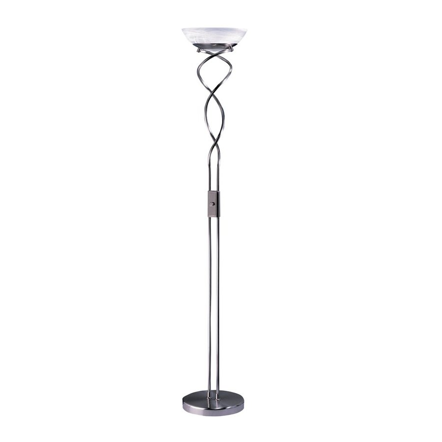 72 in satin nickel torchiere floor lamp with glass shade at. Black Bedroom Furniture Sets. Home Design Ideas