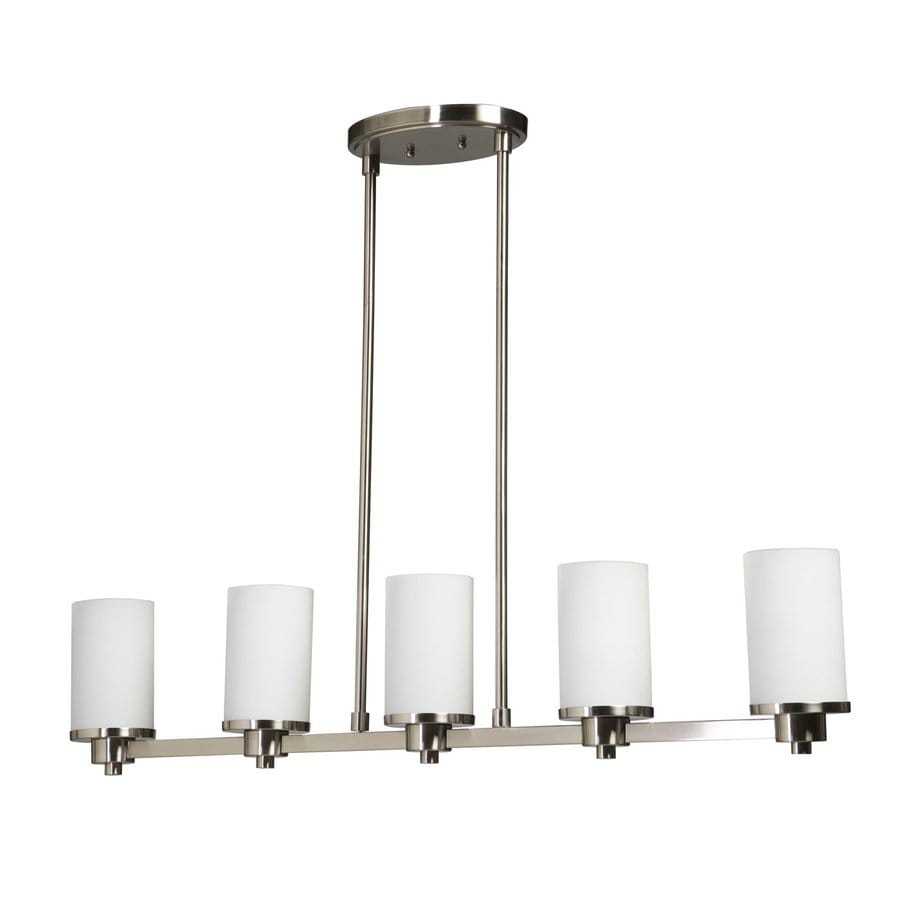 Artcraft Lighting Parkdale 38-in W 5-Light Polished Nickel Kitchen Island Light with White Shades