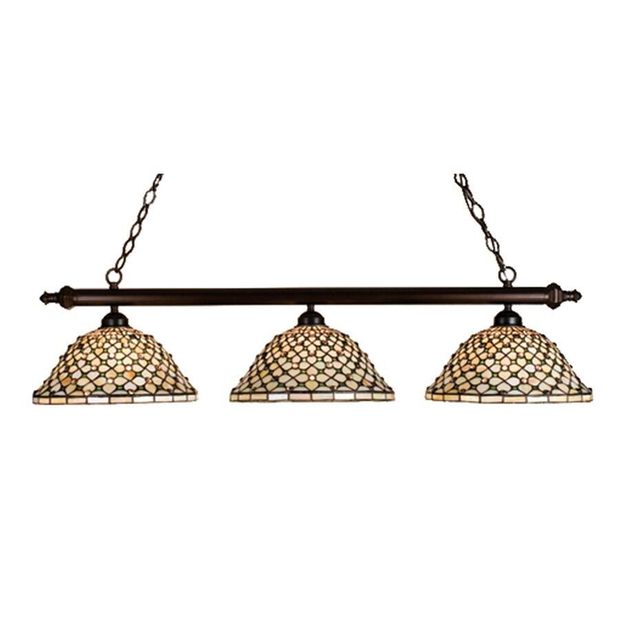 Meyda Tiffany Diamond and Jewel 14-in W 3-Light Mahogany Bronze Kitchen Island Light with Tiffany-Style Shade