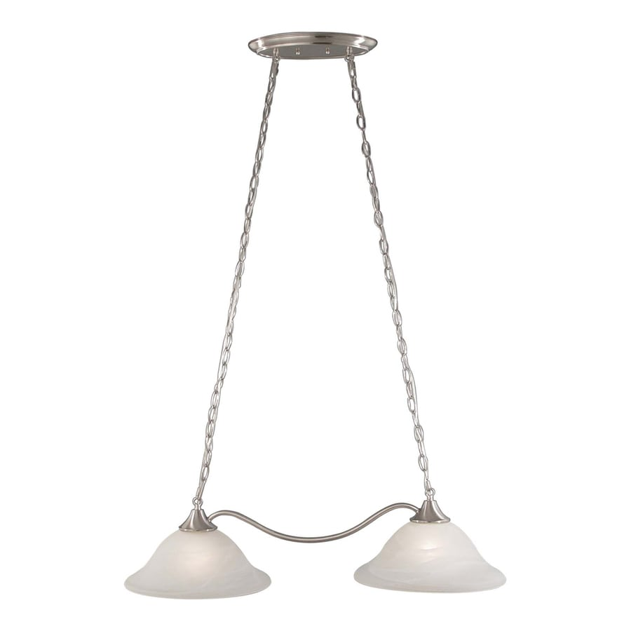 Volume International Minster 13.25-in W 2-Light Brushed Nickel Kitchen Island Light with Shade