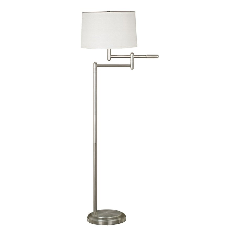 Kenroy Home Theta 60-in Brushed Steel 3-Way Swing-Arm Floor Lamp with Fabric Shade