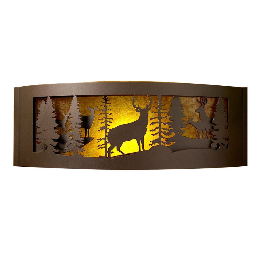 P&D Metal Works Whitetail 30-in W 1-Light Powder coated brown sugar Pocket Wall Sconce