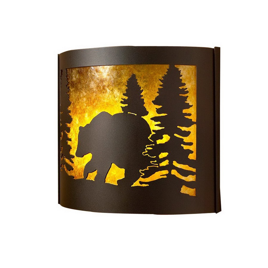 P&D Metal Works Bear 14-in W 1-Light Powder coated brown sugar Pocket Wall Sconce