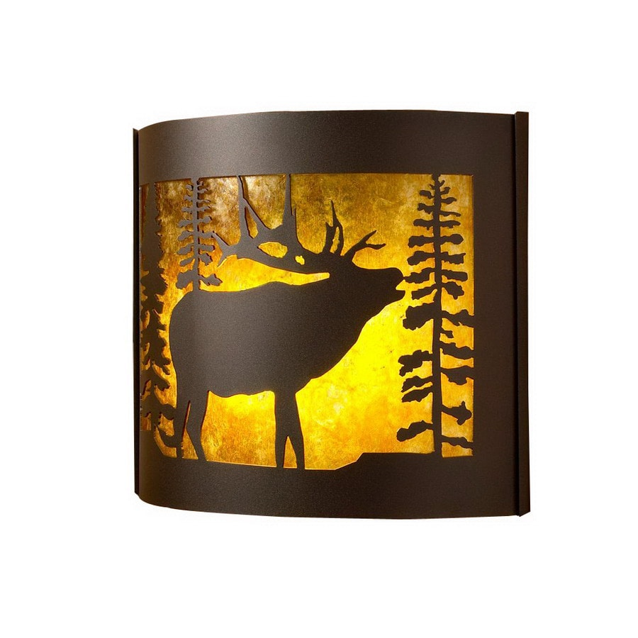 P&D Metal Works Bull Elk 14-in W 1-Light Powder Coated Brown Sugar Pocket Hardwired Wall Sconce