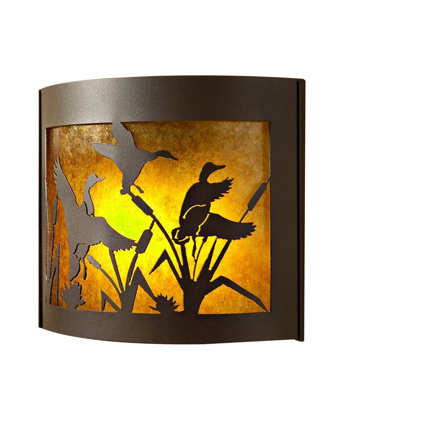 P&D Metal Works Flying Duck 14-in W 1-Light Powder Coated Brown Sugar Pocket Wall Sconce