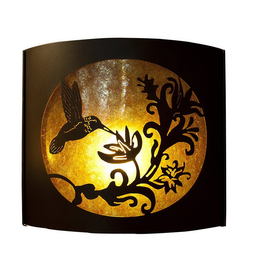 P&D Metal Works Humingbird 14-in W 1-Light Powder Coated Brown Sugar Pocket Wall Sconce