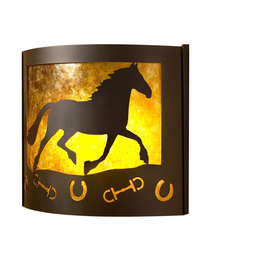 P&D Metal Works Horse 14-in W 1-Light Powder Coated Brown Sugar Pocket Hardwired Wall Sconce