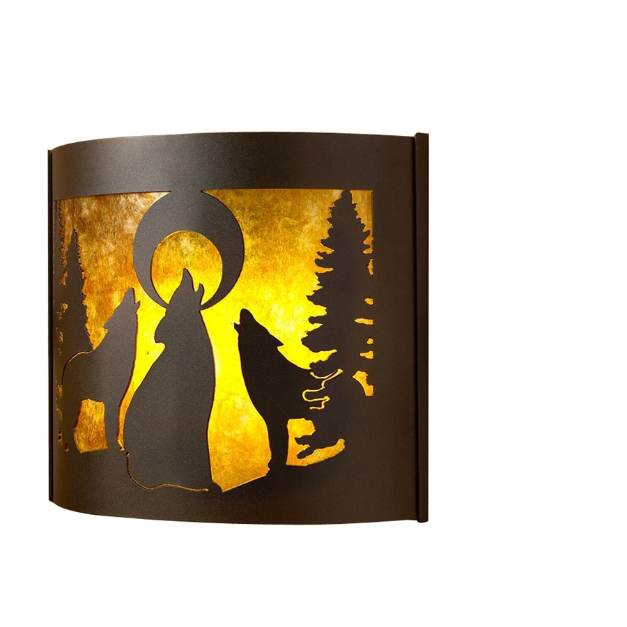 P&D Metal Works Howling Wolves 14-in W 1-Light Powder coated brown sugar Pocket Wall Sconce