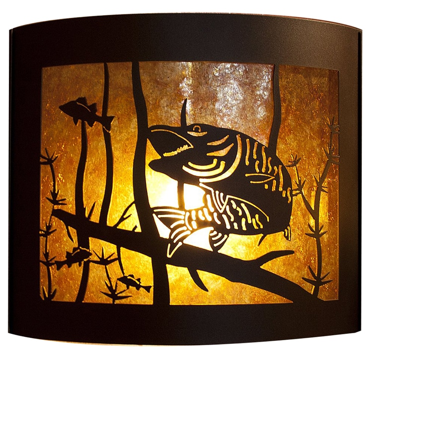 P&D Metal Works Musky 14-in W 1-Light Powder Coated Brown Sugar Pocket Wall Sconce