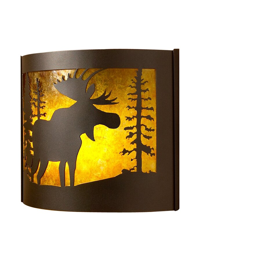 P&D Metal Works Moose 14-in W 1-Light Powder coated brown sugar Pocket Wall Sconce