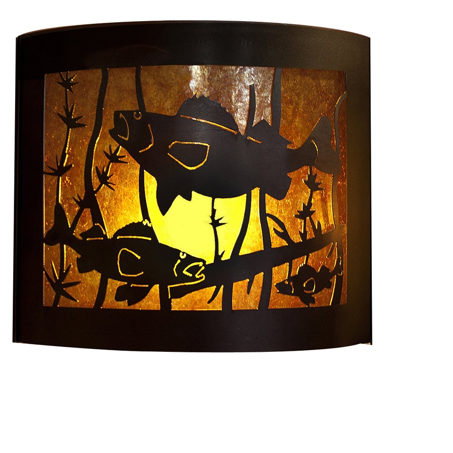 P&D Metal Works Walleye 14-in W 1-Light Powder Coated Brown Sugar Pocket Hardwired Wall Sconce