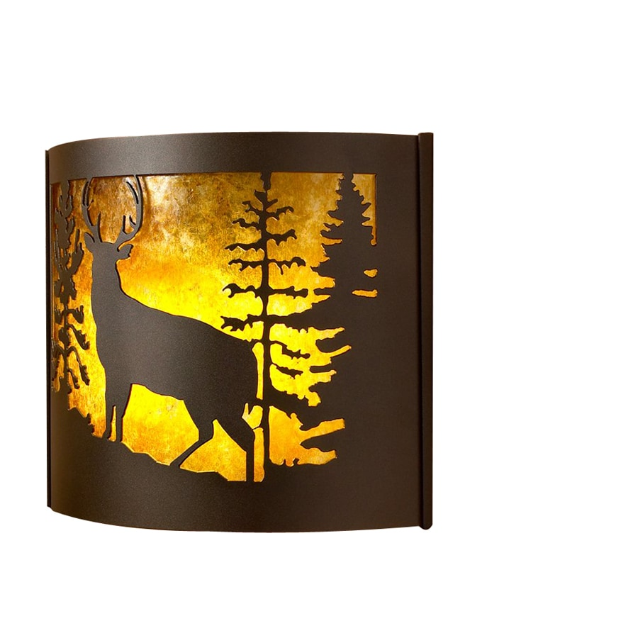 P&D Metal Works Whitetail 14-in W 1-Light Powder Coated Brown Sugar Pocket Wall Sconce