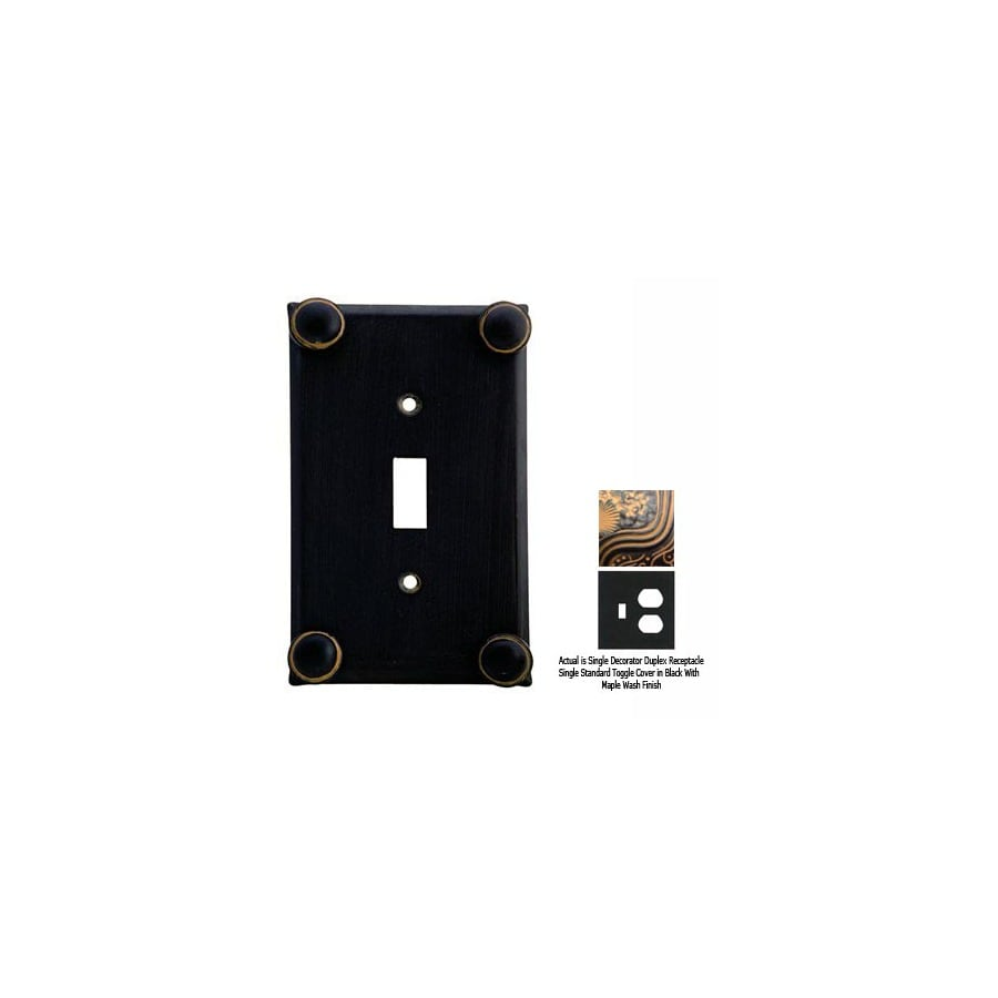 Anne at Home Button 2-Gang Black with Maple Wash Combination Pewter Wall Plate