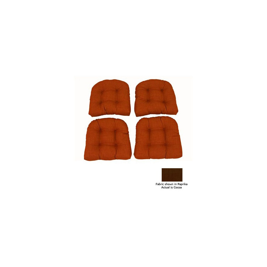 Blazing Needles 19-in L x 19-in W Cocoa Patio Chair Cushion