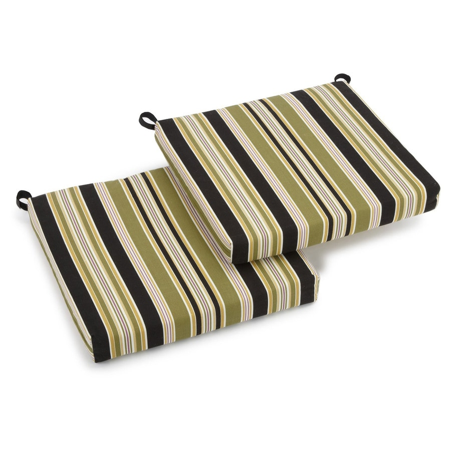 Blazing Needles Eastbay Onyx Stripe Standard Patio Chair Cushion for Bistro Chair