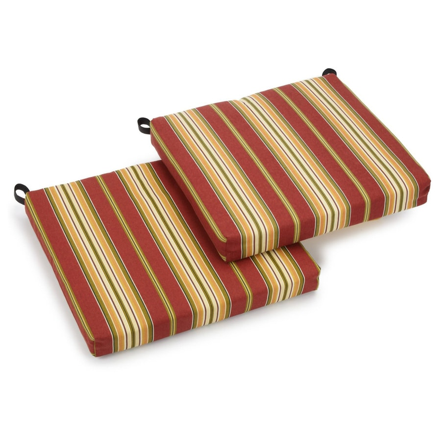 Blazing Needles Kingsley Stripe Ruby Stripe Standard Patio Chair Cushion for Bistro Chair
