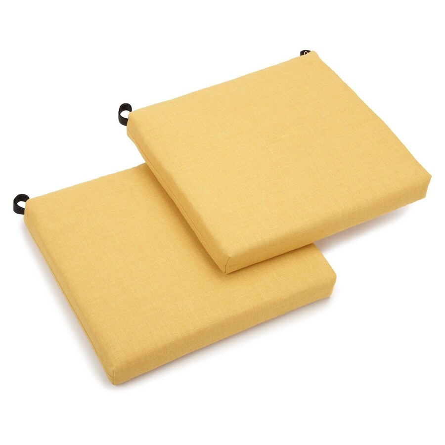 Blazing Needles Dacron 2-Piece Lemon Standard Patio Chair Cushion