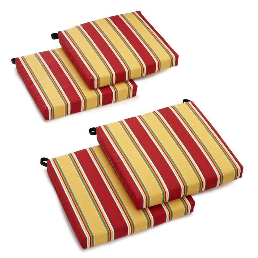 Blazing Needles Haliwell Multi Stripe Standard Patio Chair Cushion for Bistro Chair