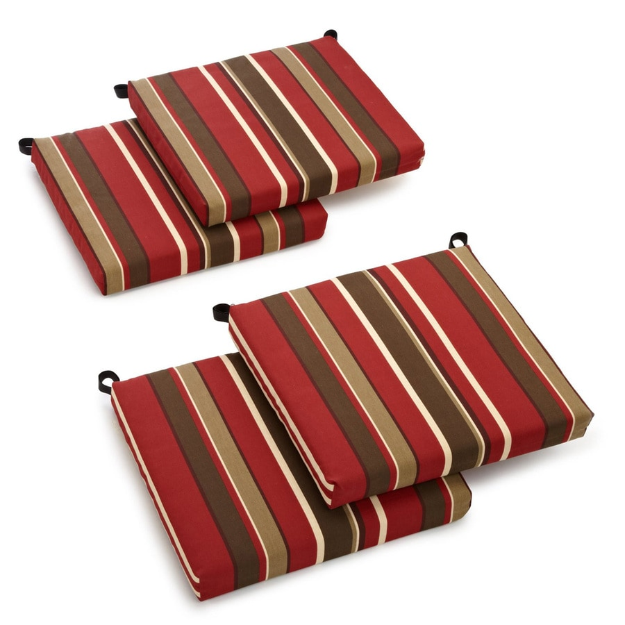 Blazing Needles Monserrat Sangria Stripe Standard Patio Chair Cushion for Bistro Chair