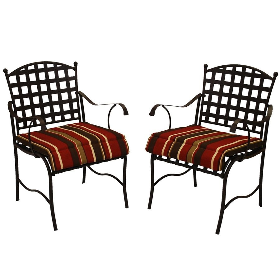 Blazing Needles Monserrat Sangria Stripe Standard Patio Chair Cushion for Rocking Chair