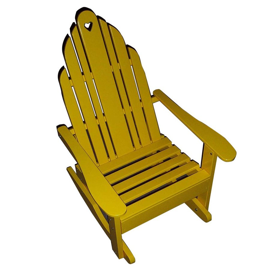 Prairie Leisure Design Grandparents Buttercup Yellow Pine Patio Adirondack Chair