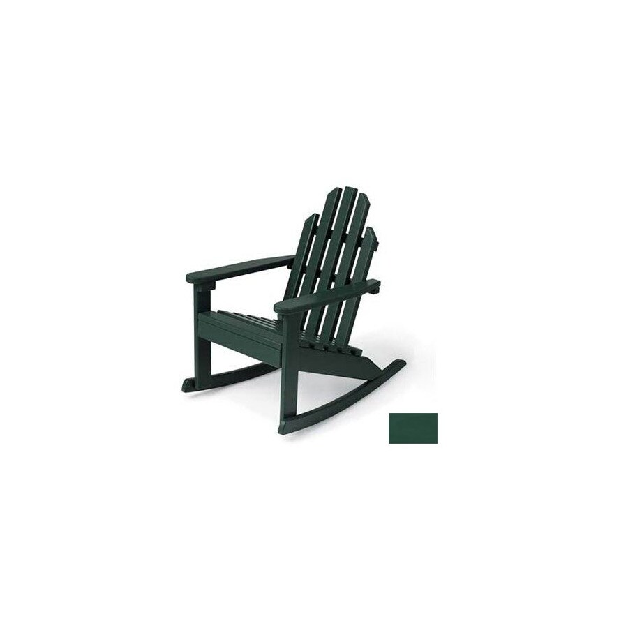 Prairie Leisure Design Hunter Green Wood Rocking Adirondack Chair