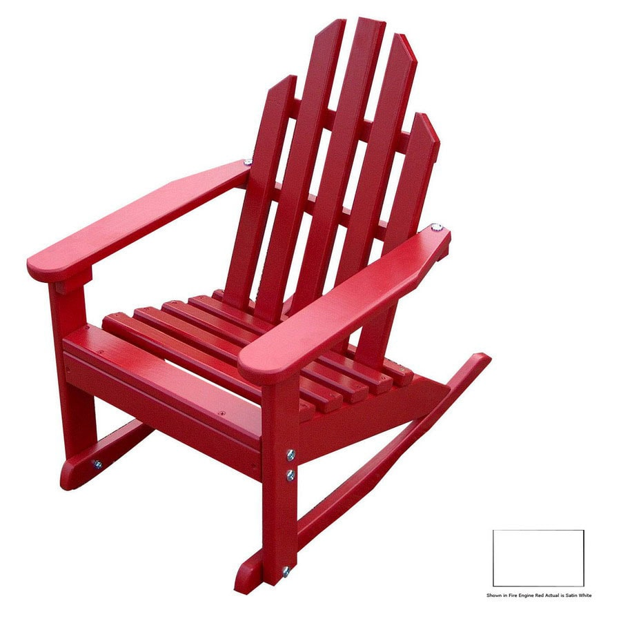 Prairie Leisure Design Satin White Wood Rocking Adirondack Chair
