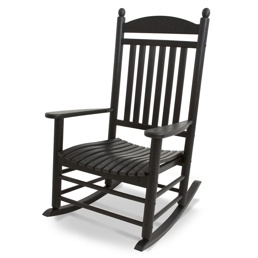 polywood jefferson black plastic patio rocking chair