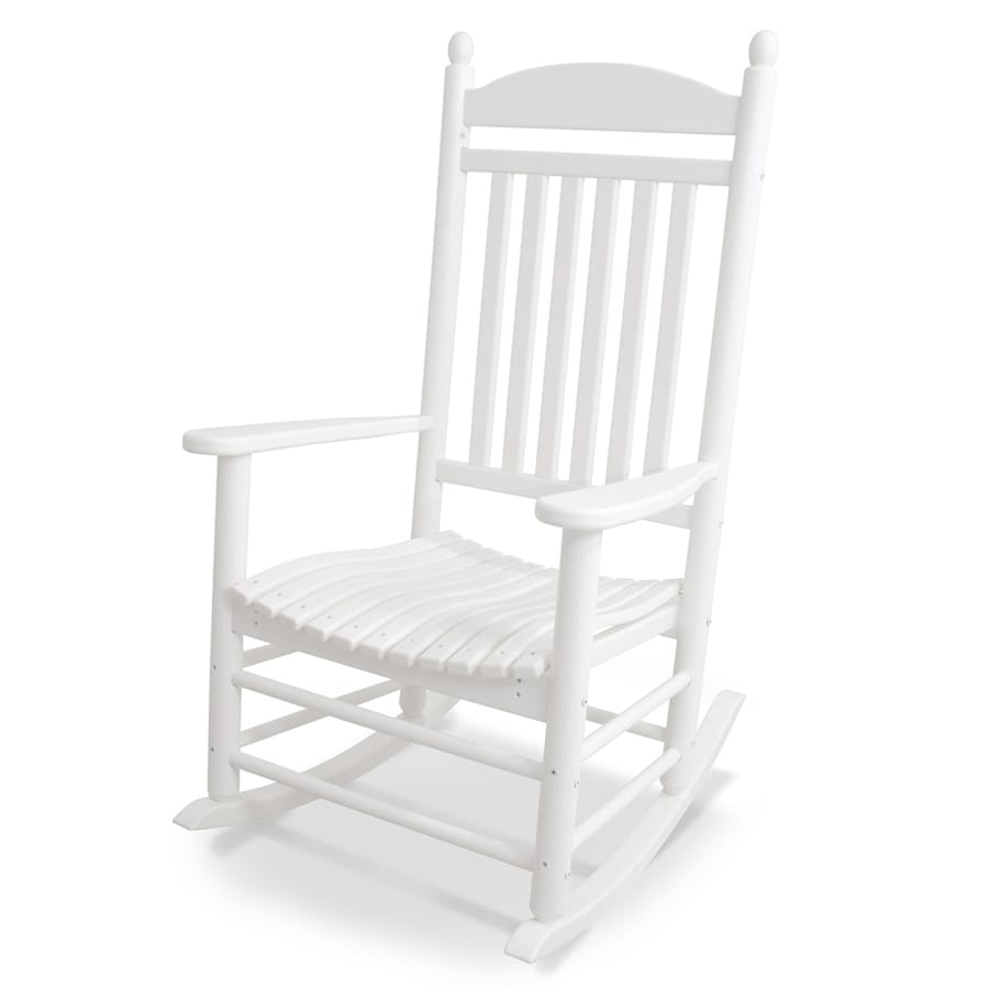 Outdoor furniture all chairs rocking chairs jefferson outdoor rocking - Polywood Jefferson White Plastic Patio Rocking Chair