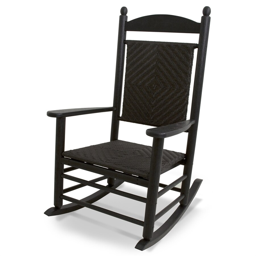 POLYWOOD Jefferson Black/Cahaba Plastic Patio Rocking Chair