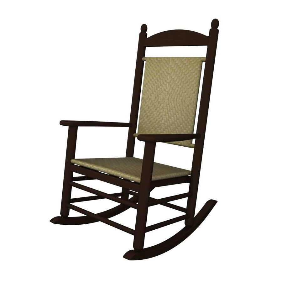 POLYWOOD Mahogany/Seagrass Recycled Plastic Woven Seat Outdoor Rocking Chair