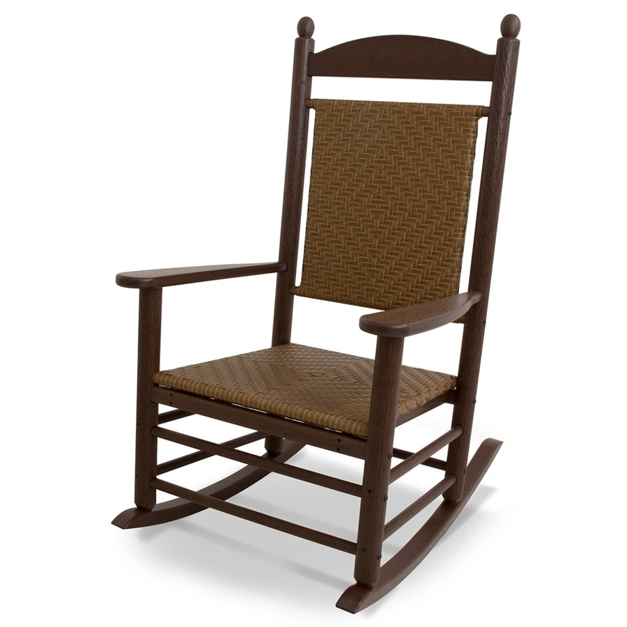 POLYWOOD Jefferson Mahogany/Tigerwood Plastic Patio Rocking Chair