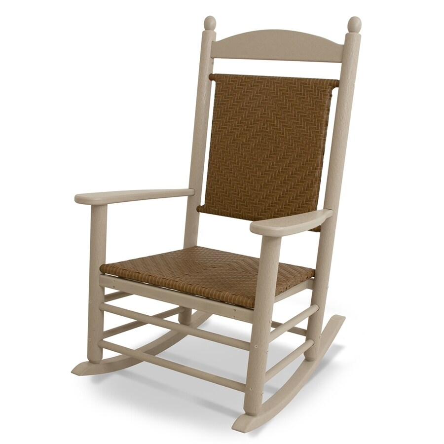 POLYWOOD Jefferson Sand/Tigerwood Plastic Patio Rocking Chair