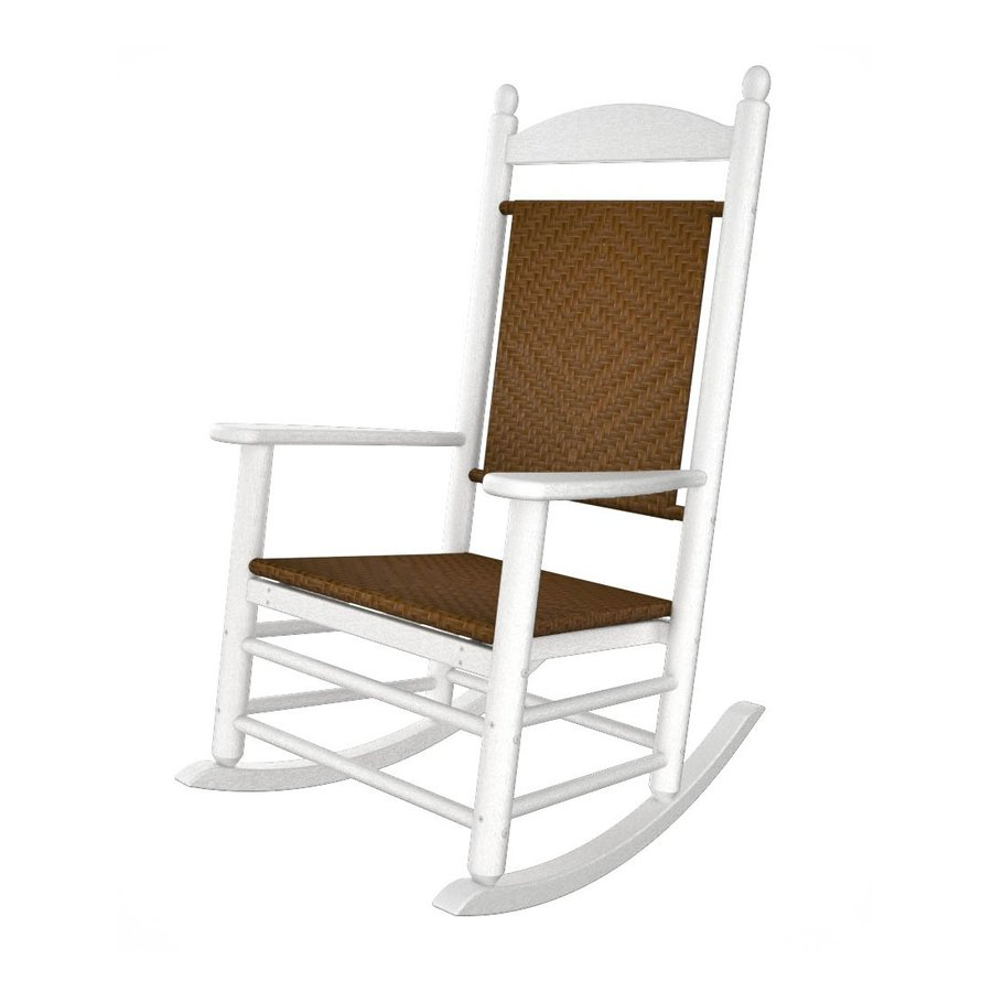 POLYWOOD White/Tigerwood Recycled Plastic Woven Seat Outdoor Rocking Chair
