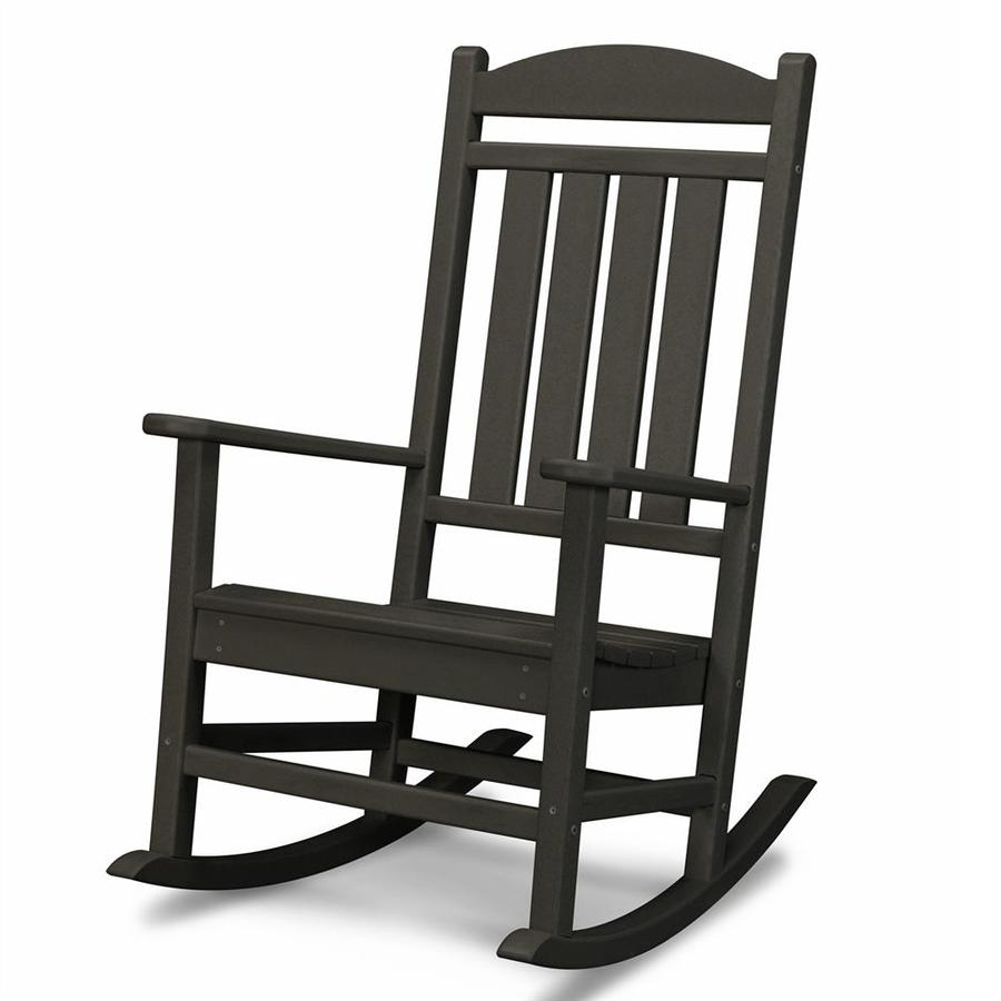 Shop polywood presidential black plastic patio rocking for Outside porch chairs