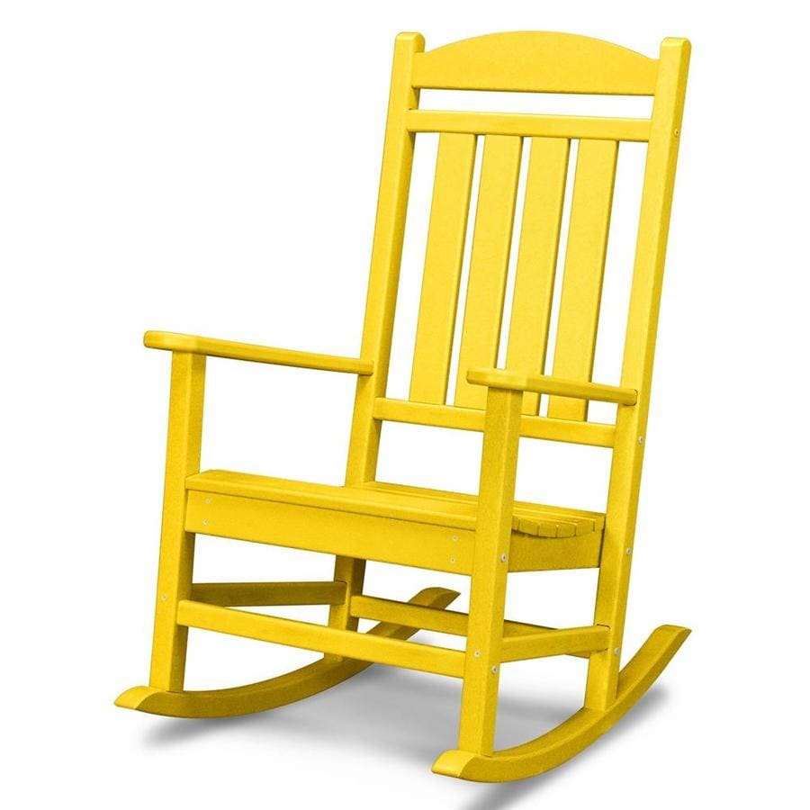 POLYWOOD Presidential Lemon Plastic Patio Rocking Chair