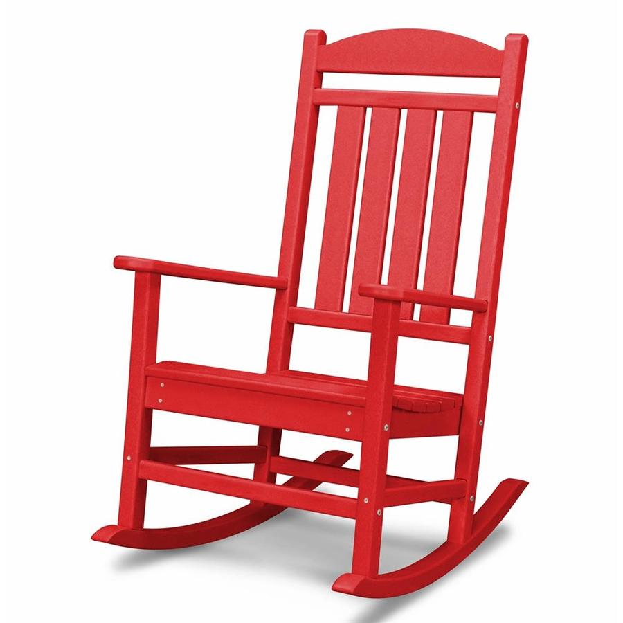 POLYWOOD Presidential Sunset Red Plastic Patio Rocking Chair