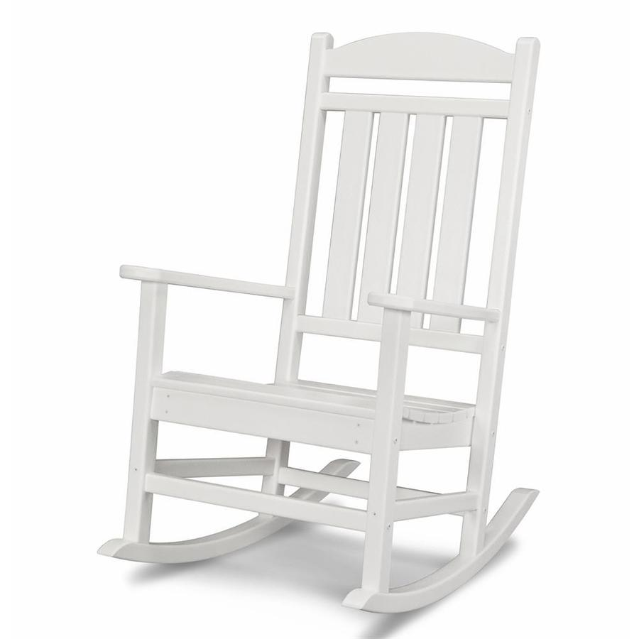 Shop polywood presidential white plastic patio rocking for Outside porch chairs