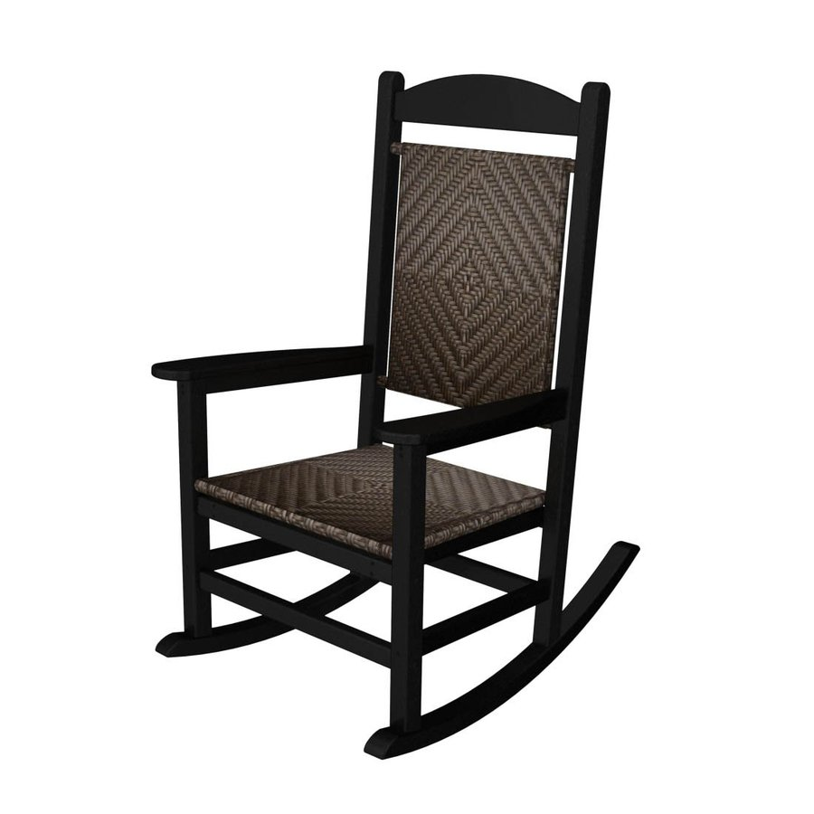 POLYWOOD Presidential Black/Cahaba Plastic Patio Rocking Chair
