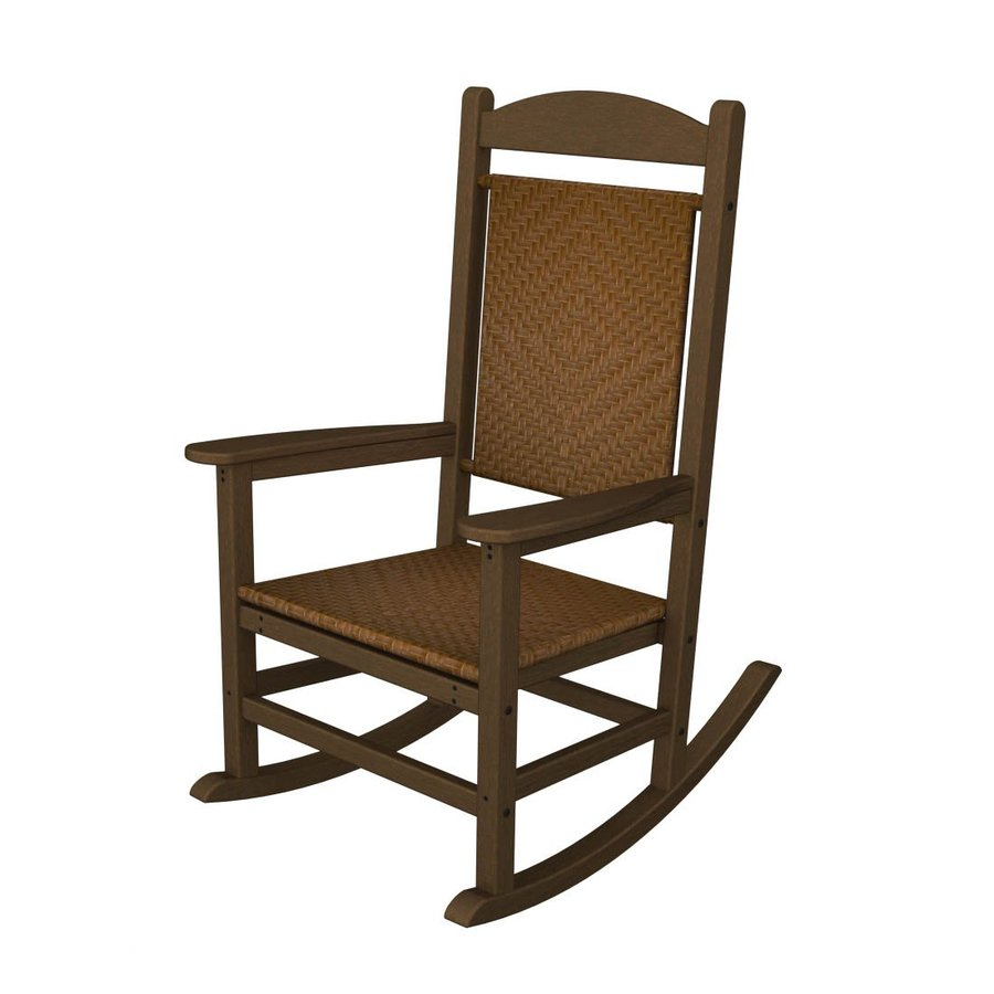 Shop POLYWOOD Teak/Tigerwood Recycled Plastic Woven Seat Outdoor ...