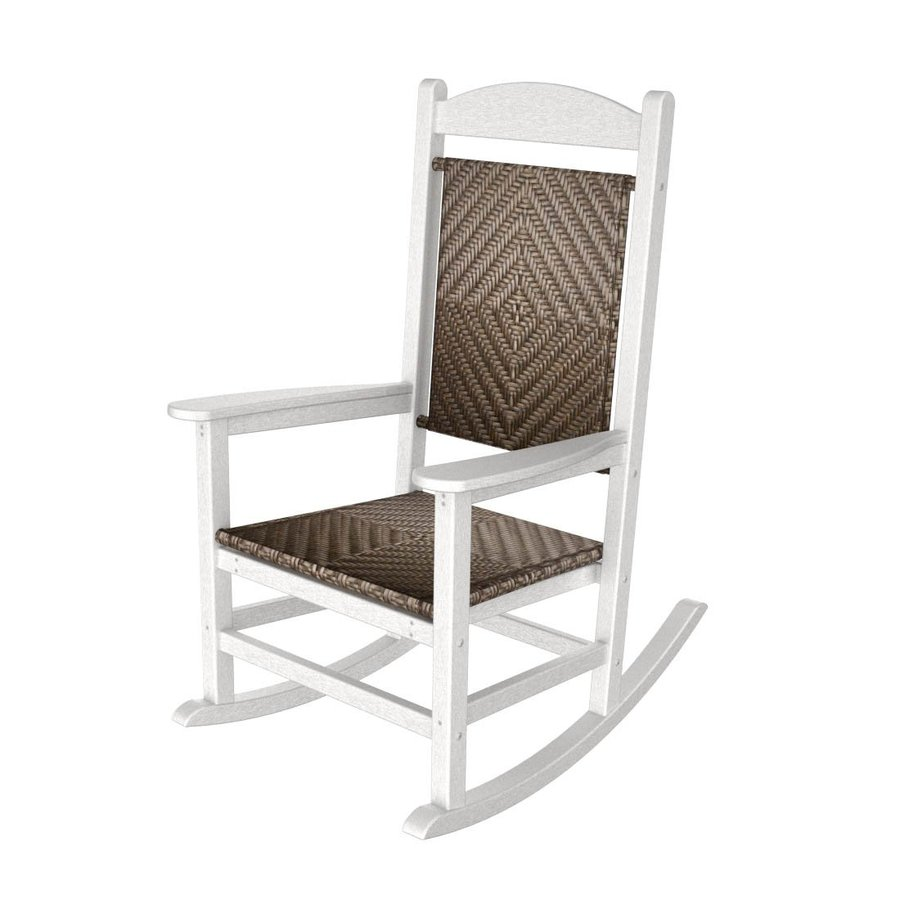 shop polywood white cahaba recycled plastic woven seat outdoor rocking chair at. Black Bedroom Furniture Sets. Home Design Ideas
