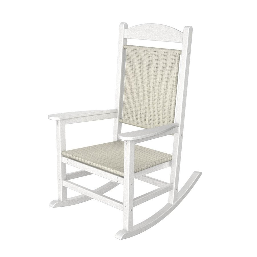 shop polywood white white loom recycled plastic woven seat outdoor rocking chair at. Black Bedroom Furniture Sets. Home Design Ideas